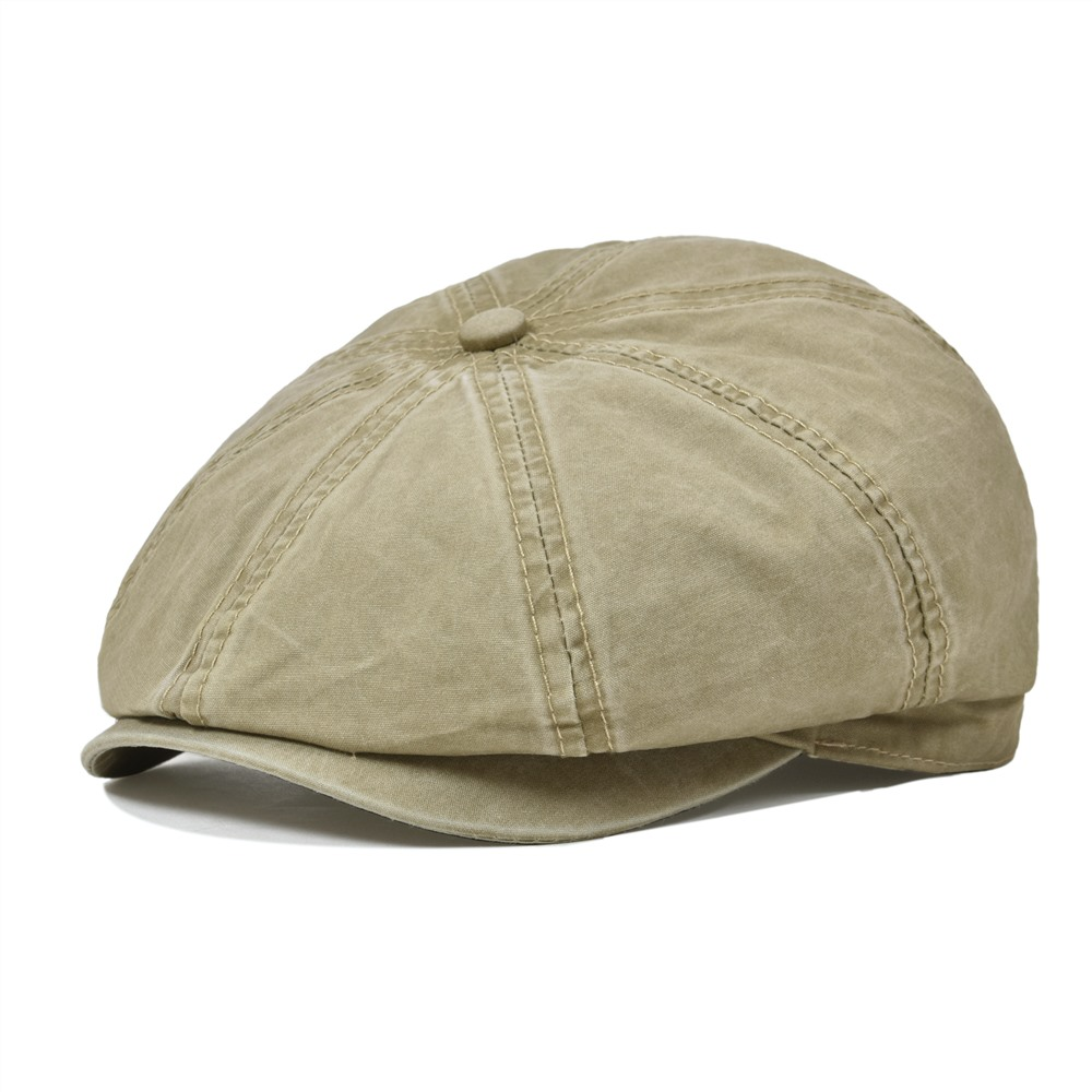 VOBOOM Washed Cotton Newsboy Cap Men Women 8 Panel Flat Caps Driver Baker Boy Hat Sun Protection Gatsby Beret Hats 160