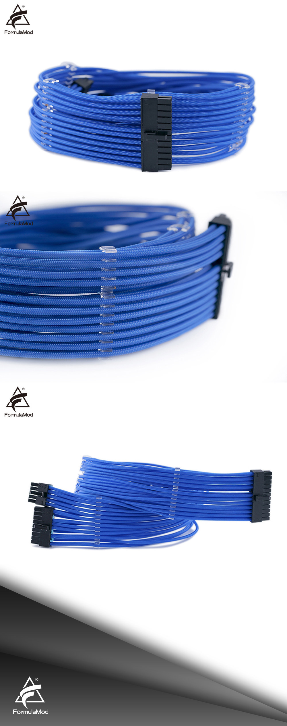 FormulaMod EVGA Fully Modular PSU Cable Kit, 18AWG Sleeved, Kit For EVGA Modular PSU, Fm-BZXZ [Please check compatibility]