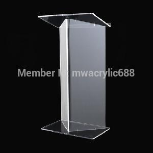 Free Shipping Deluxe Beautiful Modern Design Cheap Clear Acrylic Lectern Podium Plexiglass