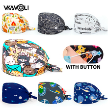 dental Working Caps with Button and Sweatband Cotton Printed Head Cover for Women Men scrub caps medical nursing cap