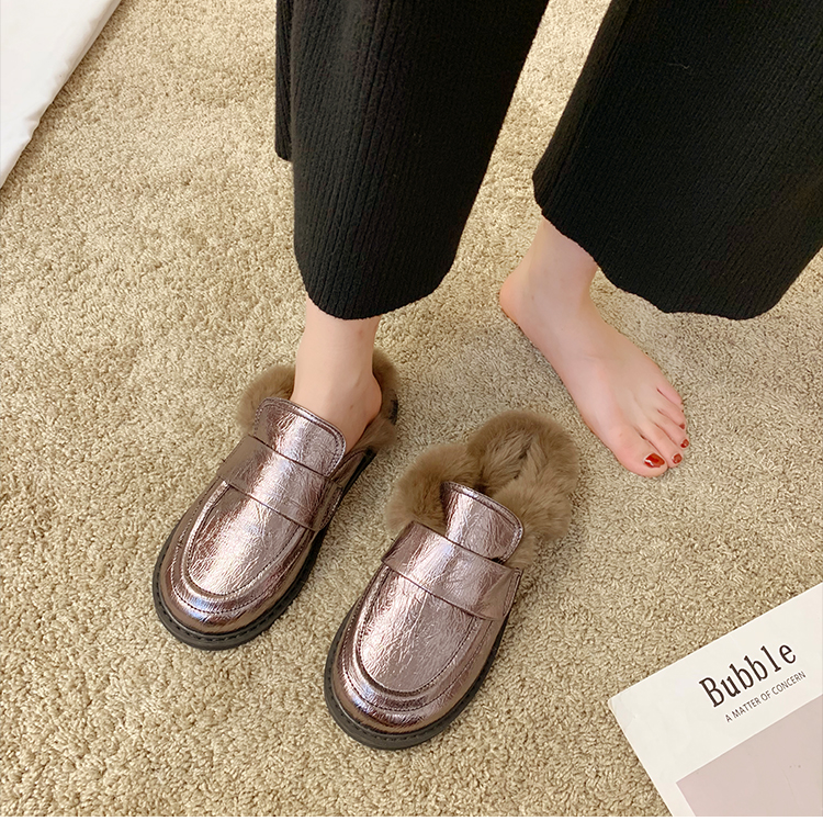 Cover Toe Female Shoes Loafers Womens Slippers Outdoor Mules Sexy Platform Slides Fur Flip Flops 2019 Soft Flat Plush PU with 30