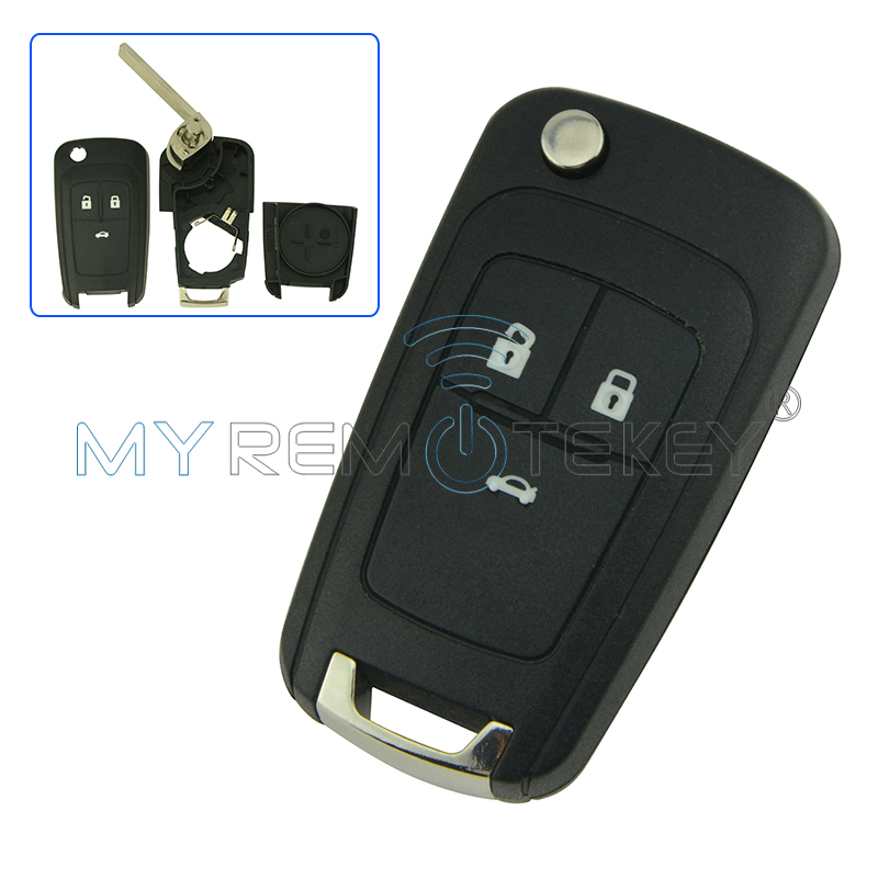 Flip <font><b>remote</b></font> car <font><b>key</b></font> shell case cover 3 button HU100 <font><b>key</b></font> blade for Buick <font><b>excelle</b></font> for Opel for Holden remtekey image