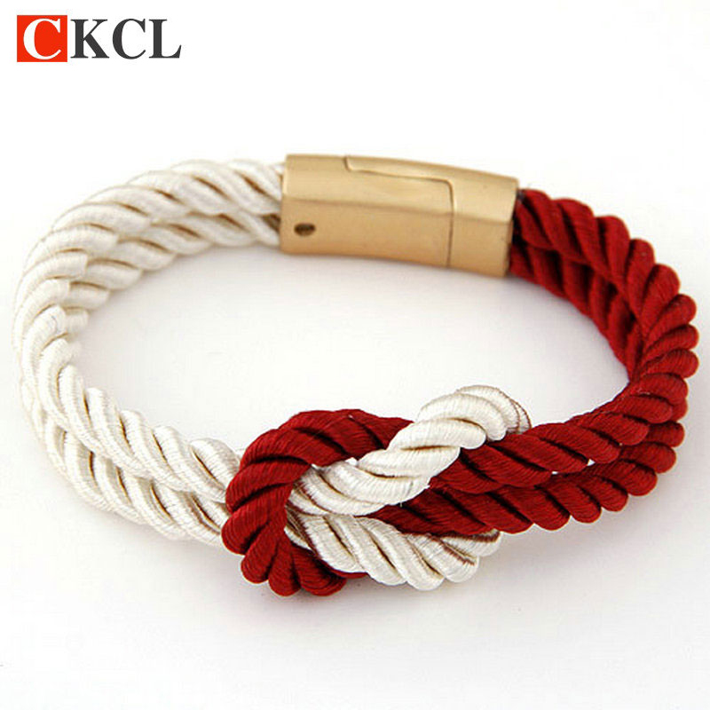New Fashion Braided Rope Chain with Magnetic Clasp Bow Charm Leather Bracelets & Bangles for Women Men Jewelry
