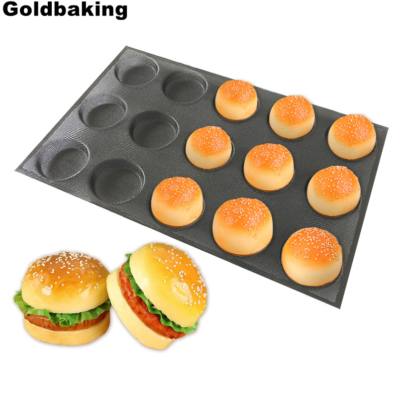 Goldbaking Silicone Bun Bread Forms Non Stick Baking Sheets Perforated Hamburger Molds Muffin Pan Tray