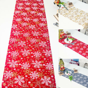 270CM Merry Christmas Long Table flag Runner Cloth Red Snowflake Tree Print Tablecloth Home Party Decorative camino de mesa image