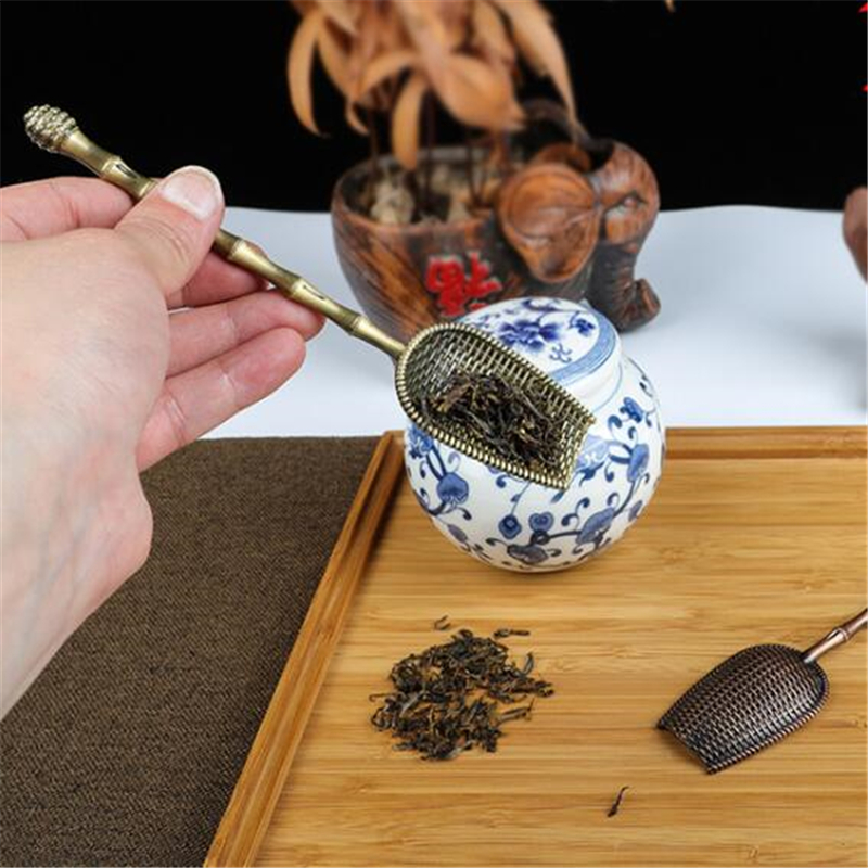 Mini Tea Spoons Retro Copper Tea Scoop Vintage High Quality Sugar Salt Spoon Chinese Kongfu Tea Accessories Tableware