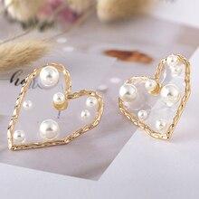 HOCOLE Fashion Geometric Heart Resin Drop Earrings For Women Vintage Imitation Pearl Gold Pendant Dangle Earring Jewelry Brincos