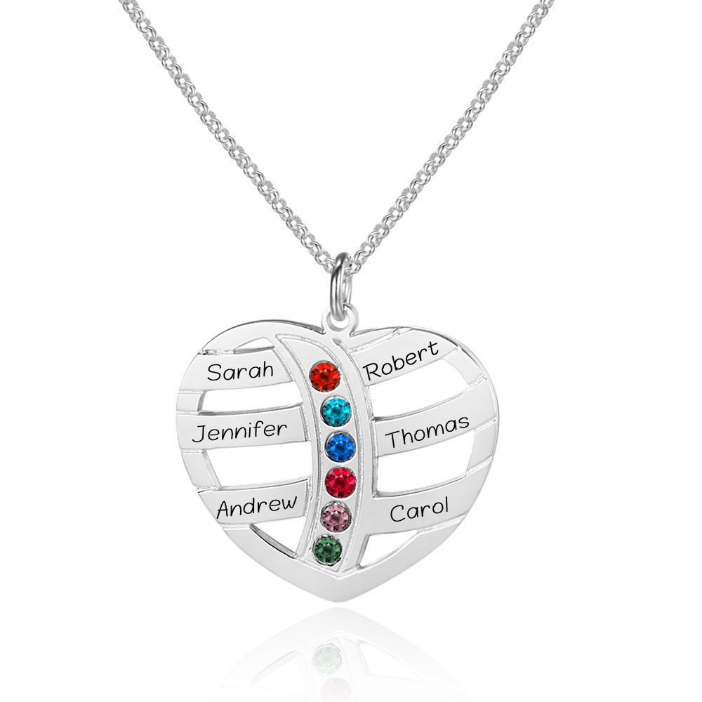 Personalized 6 Names Necklace with Birthstones Heart Engraved Custom Nameplate for Family Pendants