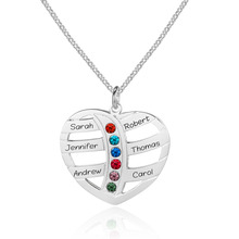 Personalized 6 Names Necklace with Birthstones Heart Engraved Custom Nameplate Necklace for Family Pendants