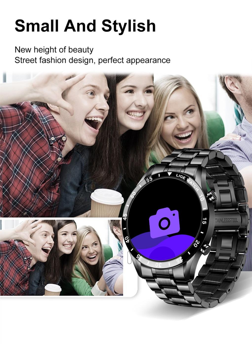 H1669a46651534cacae4673e90d1accc0U LIGE 2021 Full circle touch screen steel Band luxury Bluetooth call Men smart watch Waterproof Sport Activity fitness watch+box