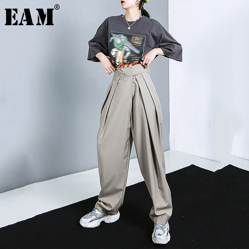[EAM] High Waist Army Green Pleated Long Wide Leg Trousers New Loose Fit Pants Women Fashion Tide Spring Autumn 2020 1R774