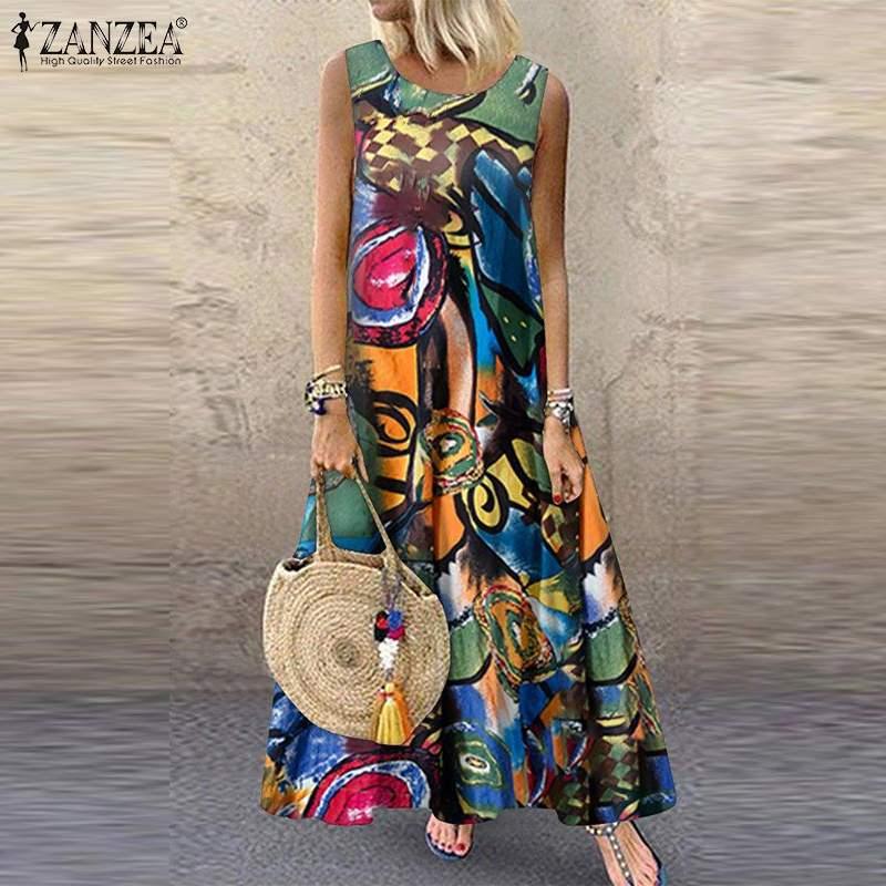 ZANZEA Summer Women Floral Printed Sundress Bohemian Sleeveless Dress Robe Femme Vintage Sarafans Kaftan Beach Vestido Plus Size