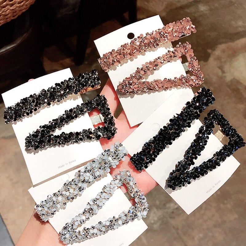 1Set Women Hair Clips Rectangular Korea Popular Triangle Rhinestone Shiny Luxury Hairpins BB Clip Styling Tools Barrettes