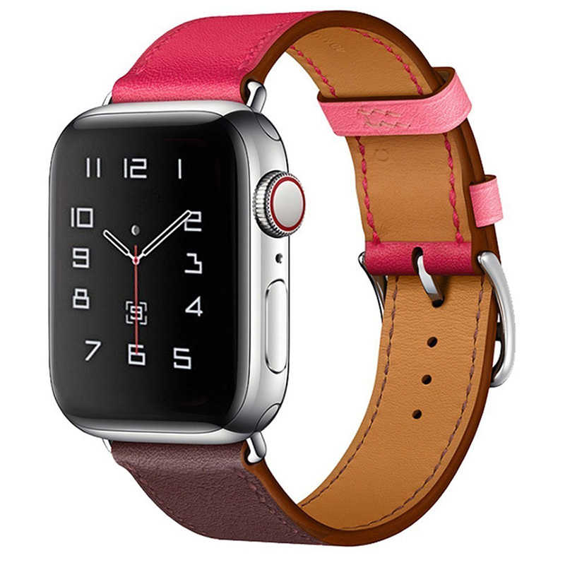 Correa de cuero genuino para Apple Watch Band 44mm Series 5 4 3 2 todas las versiones accesorios 42mm Correa 38mm reemplazo de pulsera 40mm