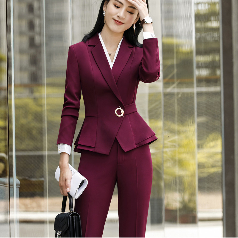 Women's Dress Formal Two Pieces Together Long Sleeve Slim Jacket And Pants Ladies Work Office Suit Women Suits Costume Femme