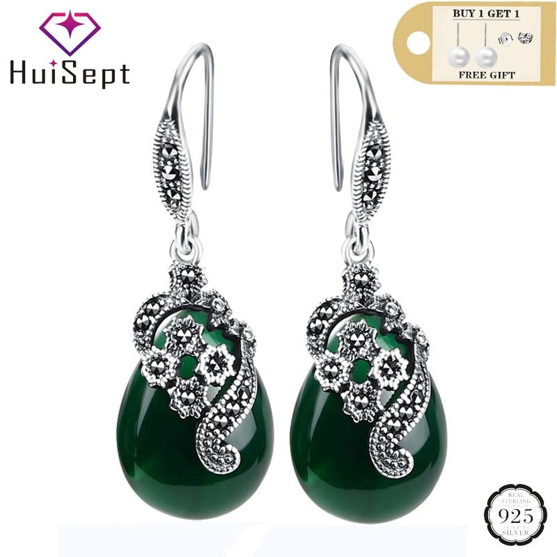 HuiSept Vintage 925 Silver Earrings Water Drop Shape Emerald Ruby Gemstones Jewellery Ornaments Women Earrings Wedding Wholesale