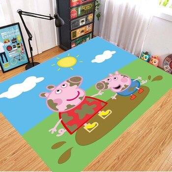 Peppa Pig Anti-slip Flannel Mat Peppa Door Mat Kid Room 3D Cartoon Floor Mat Washable Kitchen Bathroom Carpet Christmas Gift 7