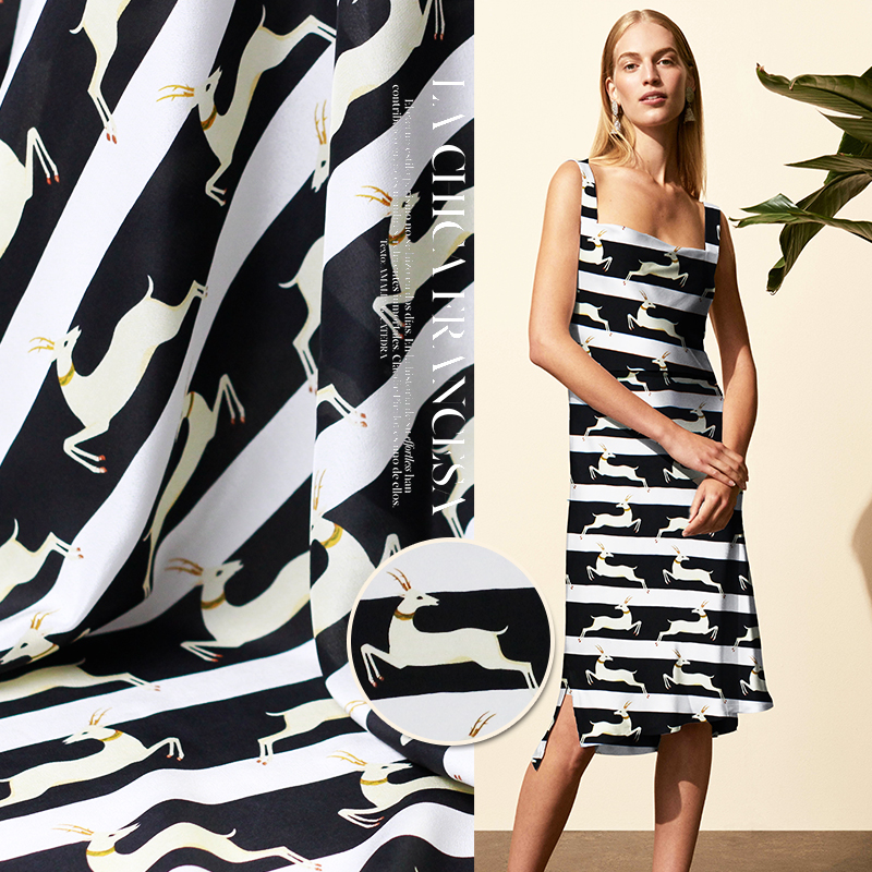 Fawn silk crepe DE chine classic black and white striped sika deer print dress fabric promotion