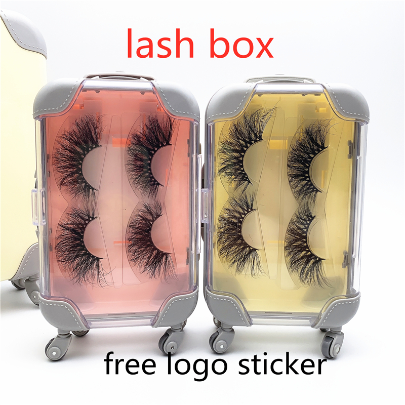 Wholesale False Eyelashes Packaging Box  Pink Luggage Lashes Suitcase Luxury Mink Lashes Packing Fluffy And Curly Case Empty