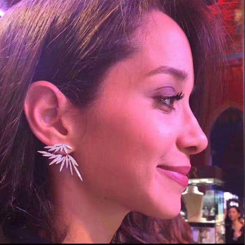 S925 Silber Ohr Post Doppel Seite Ohrringe Unregelmäßige Flügel Zirkon CZ Ohrringe Für Frauen Mode Schmuck