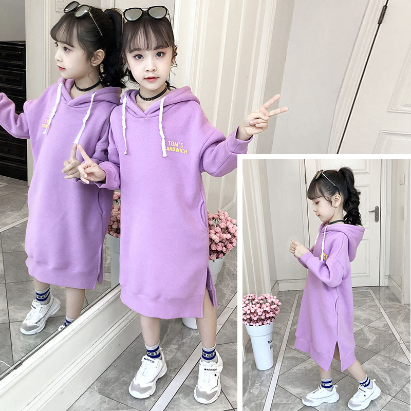 Kids Sweatshirt Girls Hoodie Dress Autumn Winter Fleece Thick Children Long Sweater Dress Clothes Kids Outfits 8 10 12 Years image