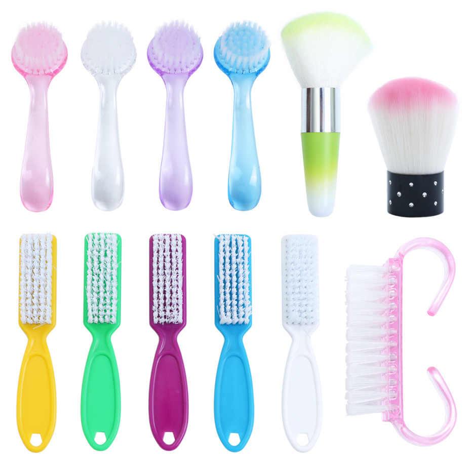 1 cepillo de limpieza de uñas de 6 tipos limpiador de polvo de plástico para Gel acrílico UV para manicura y Arte para uñas accesorio de cuidado LA095