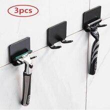 Shelf Bathroom Hook Razor-Holder Shaving-Shaver Storage Punch-Free Wall 3pcs Men