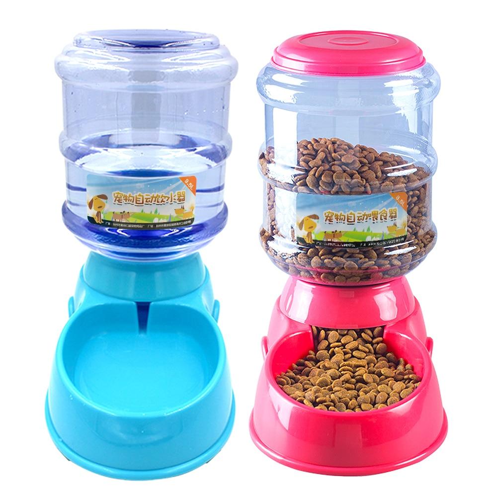 3.5L Dog Cat Feeder Bowl Automatic Pet Water Dispenser Drinking Fountain Bottle Plastic Pet Feeding Drinker Water Bowl