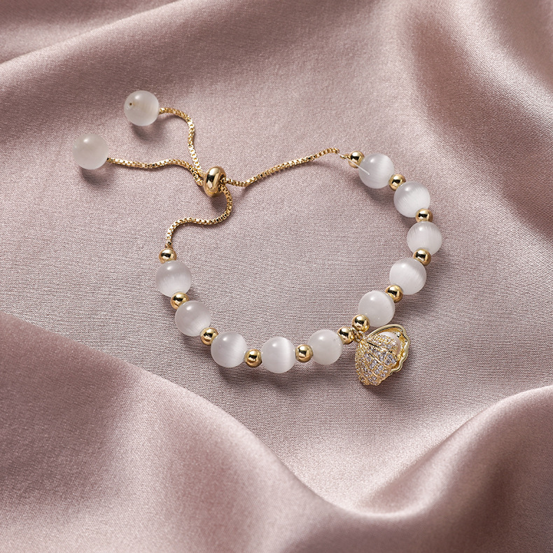 2020 Korea Hot Selling Fashion Jewelry High-end Natural Opal Beads Beaded Copper Inlaid Zircon Shell Pearl Female Bracelet
