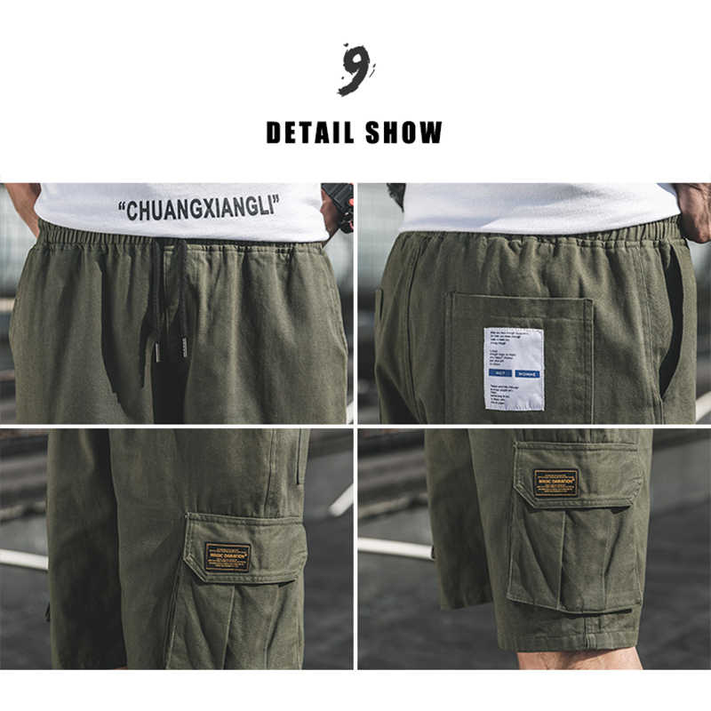 הסוואה הסוואה מכנסיים קצרים מטען גברים 2020 קיץ מזדמן רופפים זכר מכנסי עבודת איש צבאי קצר מכנסיים בתוספת גודל