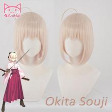 【AniHut】Okita Souji פאת גורל גרנד סדר פאת קוספליי קצר סינטטי נשים שיער אנימה גורל גרנד סדר קוספליי פאות Okita Souji