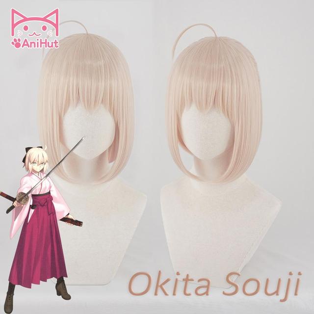 [Anihut】okita Souji Wig Fate Grand Order Cosplay Wig короткие синтетические женские волосы аниме Fate Grand Order Cosplay Wigs Okita Souji