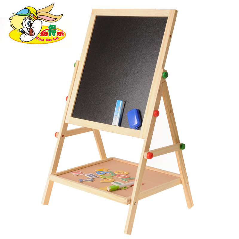Youdele Children Double-Sided Magnetic Medium Blackboard Sketchpad Baby Wooden Multi-functional Braced Writing Board