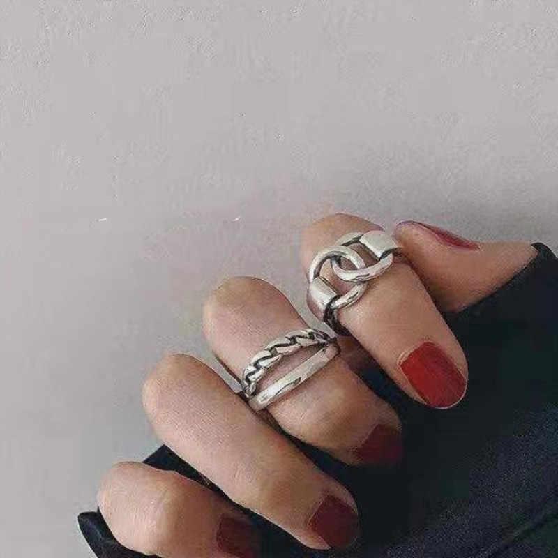 Hip Pop Vintage Metall Punk Kette Kreuz Offene Ringe Gürtel Schnalle Design Finger Ringe für Frauen männer Partei Schmuck Geschenke