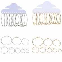 6Pairs/Set 20-70mm Big Circle Hoop Earrings For Women Fashion Party Gift Jewelry Trendy Gold Silver Color Round Earrings Set
