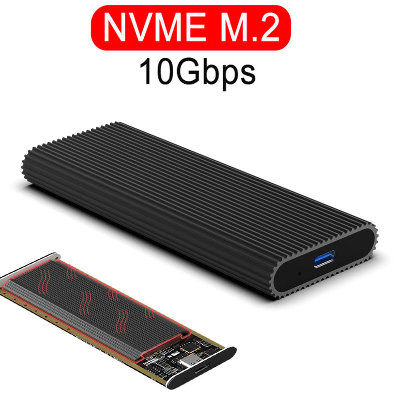 PICe NVME M.2 Ssd Case Type-c Port USB 3.1 SDD Enclosure 10Gbps NGFF SATA Transmission Hard Drive Enclosure USB 3.0 HDD Case