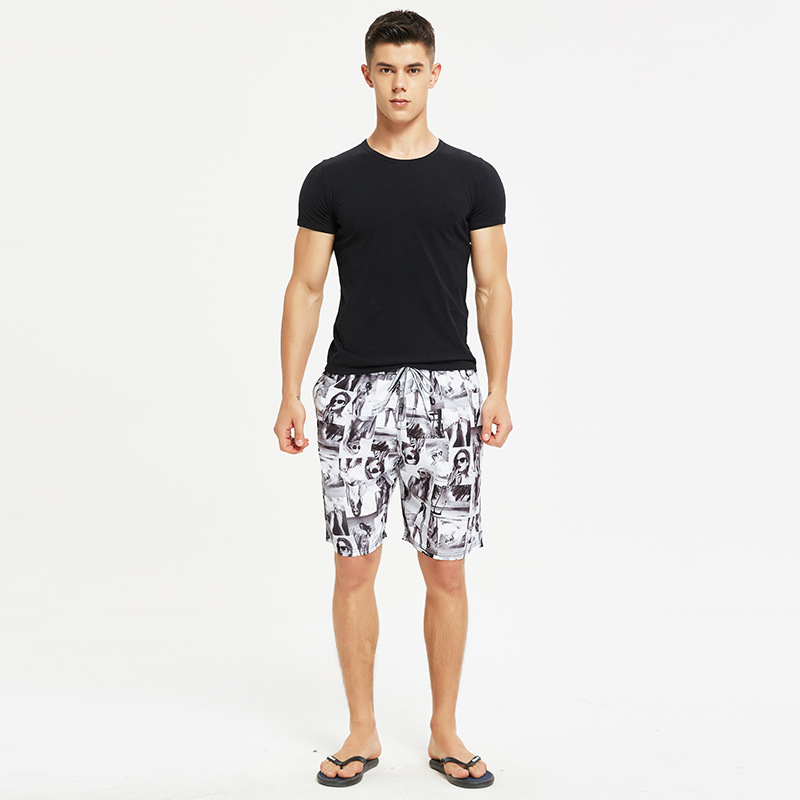 Couples Loose-Fit Summer Beach Shorts Men's Quick-Dry Seaside Holiday Trunks Sexy Cartoon Printed Shorts