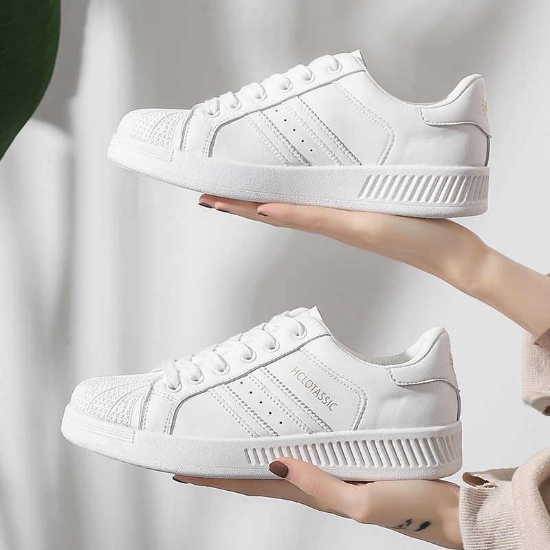 Frauen Flache Schuhe 2020 Neue Mode Klassische Weiße Schuhe frauen Atmungsaktive Casual Sport Schuhe Shell Kappe Flache Turnschuhe für Frauen