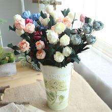Artificial Rose Flower Home Decor Imitation Fake for Garden Plant Desk Decoration Hand-Holding 6 Heads / Bouquet