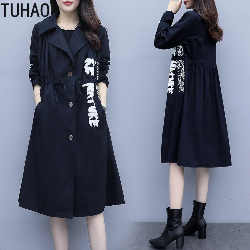 TUHAO Plus Size 5XL 4XL Office Lady Long Windbreaker Women Coat Elegant Ladies Slim Overcoat Casual Female   Trench   Coats LZ01
