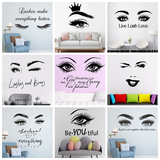 Beauty Salon Eye Lashes Live Love Wall Sticker Home Decoration Eyes Quotes Wallpaper Waterproof Wall Decoration Murals Decal 2