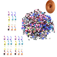 50 pcs/bag New Colorful Acrylic Ball Belly Button Ring Dangle Navel Body Jewelry Piercings