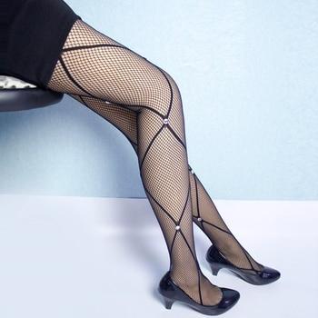 2020 Summer Women's Lady Pantyhose Black Sexy Lozenge Fishnet Tight Rhambus Pattern Jacquard Mesh Stockings Shiny Rhinestones black floral pattern jacquard pantyhose stockings