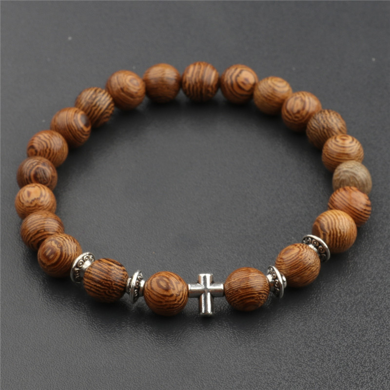 8 mm Natural Sandalwood Rosary <font><b>Bracelets</b></font> <font><b>Men</b></font> Leopard head Cross Crown <font><b>Bracelets</b></font> & Bangles Women Wood <font><b>Beads</b></font> Jewelry image