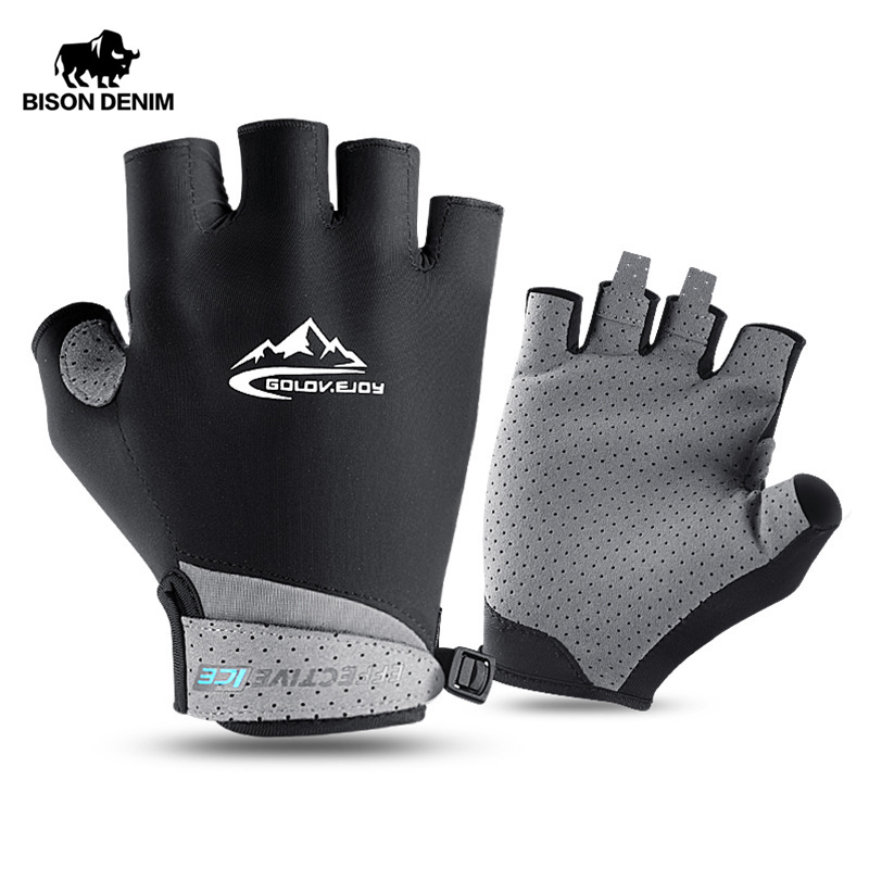 BISON DENIM Unisex Cycling Anti-slip Anti-sweat Men Women Half Finger Gloves Breathable Gloves Bike Bicycle Glof Gloves S016