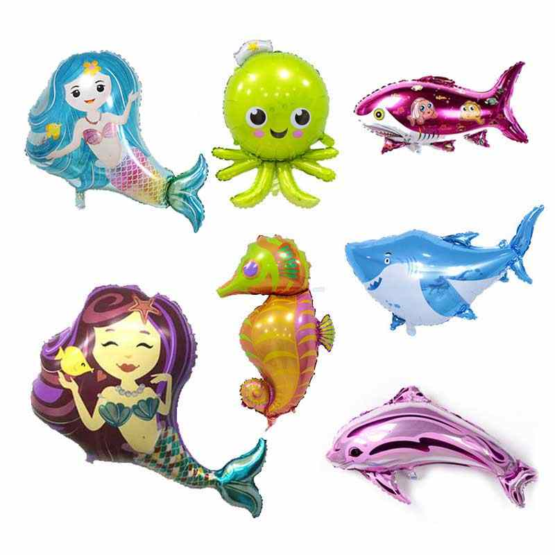 New Large mermaid shark aluminum foil balloon mermaid party birthday decorations kids gifts octopus dolphin clownfish balloons