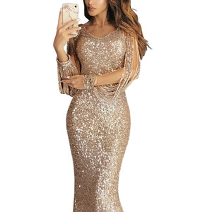 Image 5 - Lantejoulas tassel vestido de manga longa franja sukienka elegante vestidos de festa longos vestido de noite robe 2020 sexy vestido brilhante até o chão