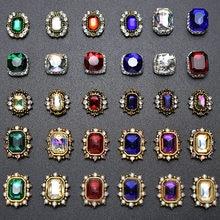 Decorações para arte de unhas, decorações em liga quadrada 3d antiga, pedra de cristal, acessórios para joias de strass com 10 peças