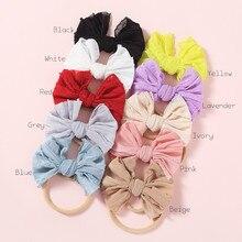 10pcs/lot  Knot Messy Bow Headband Nylon Hair Band For Babys Soft Nylon Headband Infant Hair Accessory