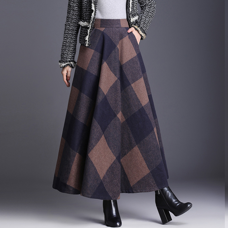 #0225 Long Wool Skirts For Winter 2019 Blue Red High Waist Plaid Skirt Women Long A-Line Ladies Woolen Skirts Vintage